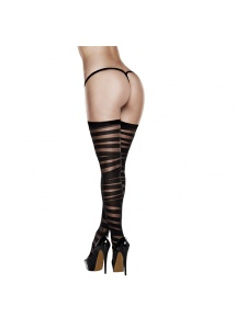Pończochy - Baci Criss Cross Sheer And Opaque Thigh Highs with Silicone Stay Up