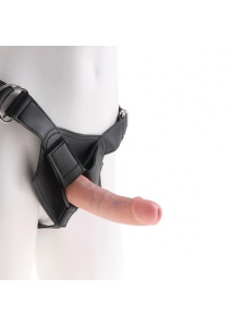 Strap on z dildo - King Cock Strap-On Harness with 6 Inch Cock Flesh  - 15 cm