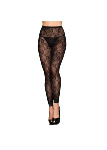 Rajstopy  bez stopek - Footless Tights Black Floral