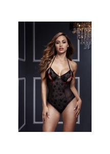 Body z wycięciami na piersiach - Baci Black Lace Bodysuit & Bra Slits Red Bow