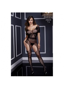 Bodystocking jak z pasem do pończoch - Baci Crotchless Suspender Bodystocking