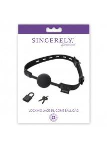 Knebel do ust silikonowy - Sportsheets Sincerely Locking Lace Silicone Ball Gag