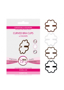 Ściągacze do ramiączek - Bye Bra Curved Bra Clips Brown (2x) & Black & White  ByeBra